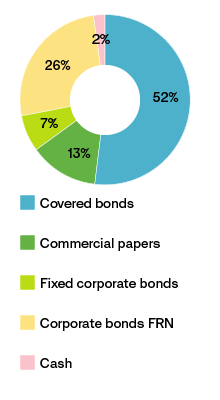 Chart showing allocation, interest-bearing portfolio