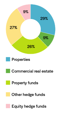 Chart showing allocation properties and alternative investments